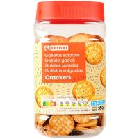 Galleta salada mini cracker EROSKI, bote 350 g