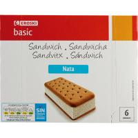Sandwich de nata EROSKI basic, pack 6x100 ml