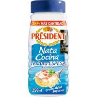 Nata para cocinar espesa especial pasta PRESIDENT, bote 250 ml