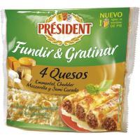 Queso rallado 4 quesos PRESIDENT, bolsa 150 g