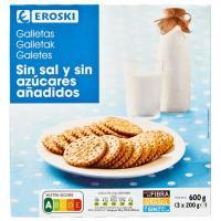 Galleta sin sal-sin azúcar EROSKI, caja 600 g