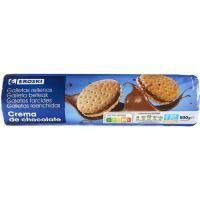 Galleta rellena de chocolate EROSKI , paquete 500 g