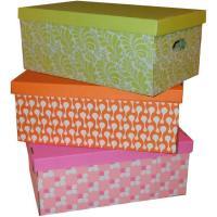 Caja de cartón con decorados colores surtidos, 3 uds, 53x30x21cm