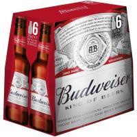 Cerveza americana BUDWEISER, pack botellín 6x25 cl