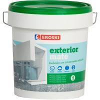 Pintura plástica de exterior rendimiento 9-12m2/l color blanco mate EROSKI, 4l