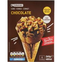 Cono de chocolate EROSKI, pack 4x65 g
