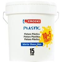 Pintura plástica de interior rendimiento 7-9m2 color blanco mate EROSKI, 10+5l