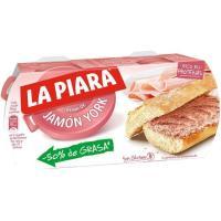 Paté de jamón york LA PIARA, pack 2x77 g
