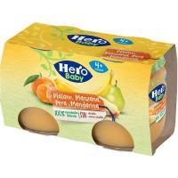 Potito de plátano-mandarina-pera HERO, pack 2x120 g