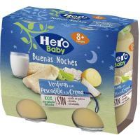 Potito de pescadilla-crema HERO Buenas Noches, pack 2x190 g