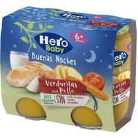Potito de pollo-verduras HERO Buenas Noches, pack 2x190 g