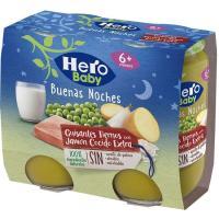 Potito de jamón-guisantes HERO Buenas Noches, pack 2x190 g