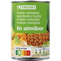 Frutas variadas en almíbar EROSKI, frasco 240 g