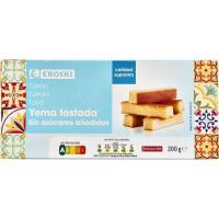 Turrón de yema tostada sin azúcar EROSKI, caja 200 g