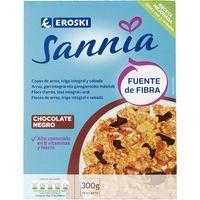 Copos integrales chocolate EROSKI Sannia, caja 300 g