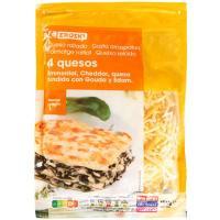 Queso rallado 4 quesos EROSKI, bolsa 150 g