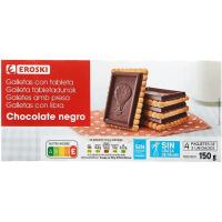 Galleta con chocolate negro EROSKI, caja 150 g