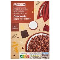 Cereales muesli crunch con dos chocolates EROSKI, caja 500 g