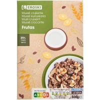 Cereales muesli crunch con fruta seca EROSKI, caja 500 g