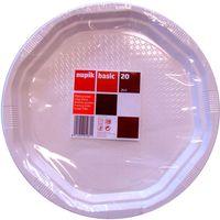 Plato blanco de plástico NUPIK, paquete 20 uds.