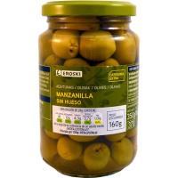 Aceitunas verdes sin hueso EROSKI, frasco 160 g