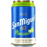 Cerveza sin alcohol sabor manzana 0,0 SAN MIGUEL, lata 33 cl
