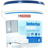 Pintura plástica de interior rendimiento 9-12m2/l color blanco mate EROSKI, 12+3l