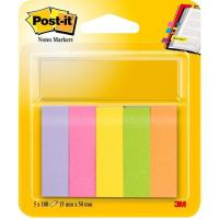 Señalizador o marcador, 5 colores, 15x50mm, 100 hojas por color POST-IT, pack 5uds