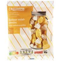 Caramelo de miel-limón sin azúcar EROSKI, bolsa 90 g