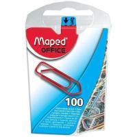 Clips Acero Lacado 25mm colores surtidos MAPED, caja 100uds