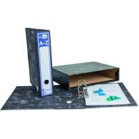 Archivador cartón jaspeado negro con caja LIDERPAPEL
