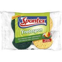 Estropajo de fibra verde Frotaspón brillo SPONTEX, pack 2 unid.