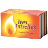 Fósforo extra largo TRES ESTRELLAS, caja 3 unid.