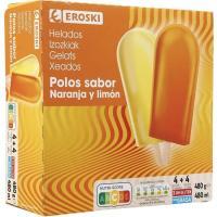 Mini polo de naranja-limón EROSKI, 8 uds., caja 480 g