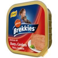Alimento húmedo buey-cordero para gato BREKKIES, tarrina 100 g