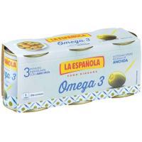 Aceitunas rellenas omega3 mini LA ESPAÑOLA, pack 3x36 g