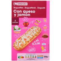 Pizza Baguette jamón-queso mozzarella EROSKI, pack 2x125 g