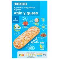 Pizza-Baguette de atún EROSKI, pack 2x125 g