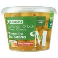 Aceitunas sabor manzanilla sin hueso EROSKI, frasco 250 g