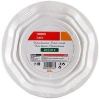 Plato blanco de plástico 20,5 cm EROSKI, pack 100 unid.