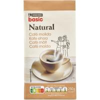 Café molido natural EROSKI basic, paquete 250 g