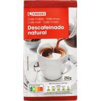 Café molido natural descafeinado EROSKI, paquete 250 g