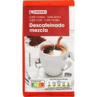 Café molido descafeinado mezcla EROSKI, paquete 250 g
