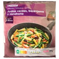 Salteado de judía-berenjena-zanahoria EROSKI, bolsa 450 g