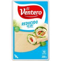 Queso tierno bajo en sal EL VENTERO, lonchas, bandeja 200 g