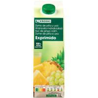 Zumo de piña-uva EROSKI, brik 1 litro