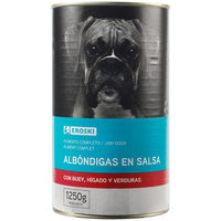 Albóndigas de buey para perro EROSKI, lata 1,25 Kg