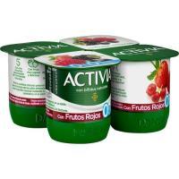 Activia 0% con frutos rojos DANONE, pack 4x125 g