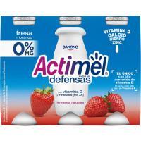 Yogur para beber de fresa 0% ACTIMEL, pack 6x100 ml