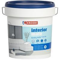 Pintura plástica de interior rendimiento 9-12m2/l color blanco mate EROSKI, 4l